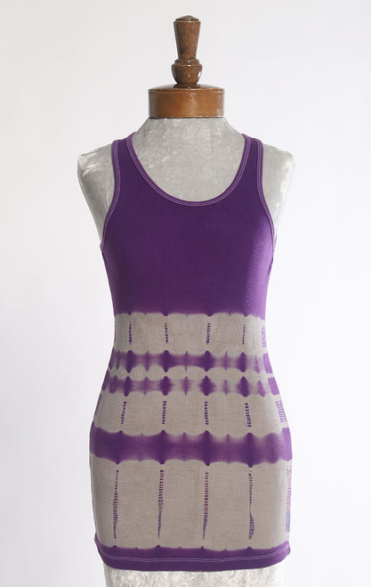 RIB TANK TOP:  Purple+Grey Bands (large)