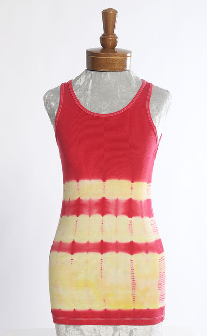 RIB TANK TOP: Yellow+Cherry Red Bands (small, medium)