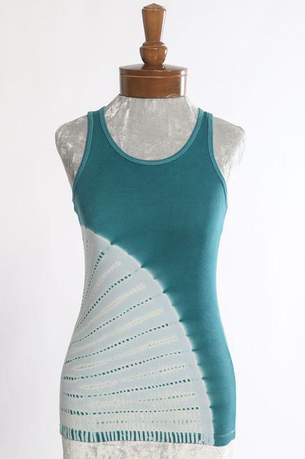 RIB TANK TOP: CURVE Teal+Soft Blue (small,  x-large)