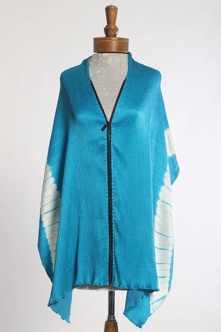 CRINKLE SHIBORI ZIPPER SCARF: Half Arch Turquoise+White