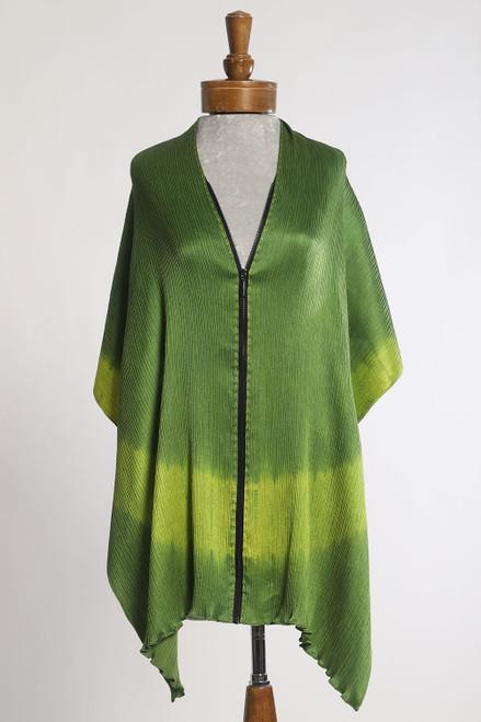 CRINKLE SHIBORI ZIPPER SCARF: En (Circle)  Green+Lime