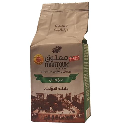 Maatouk Coffee Original 100% Fine Ground w/Cardamom 1 lb قهوة أصلية 100٪ مطحونة ناعمة مع الهيل