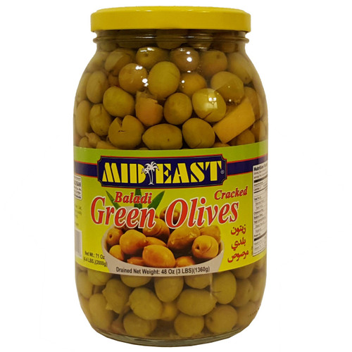 Mid East Baladi Cracked Green Olives 3 lb