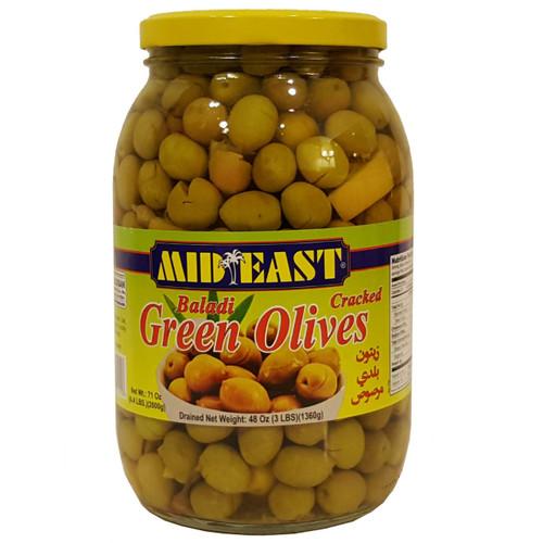 Mid East Baladi Cracked Green Olives3 lb