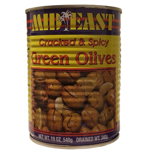 Mid East Green Cracked West Bank Olives w/Shatta 19oz
