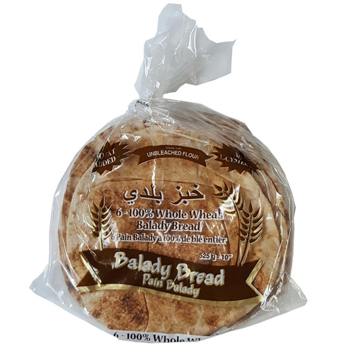 "Mediterranean Balady Whole Wheat Pita Bread 10"" 525g, Bag of 6 Bread"