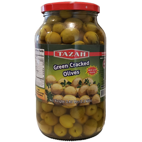 Tazah Cracked Green Olives With Wild Thyme 2.85 lbs