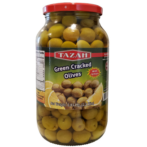 Tazah Cracked Green Olives With Lemon 2.85 lbs