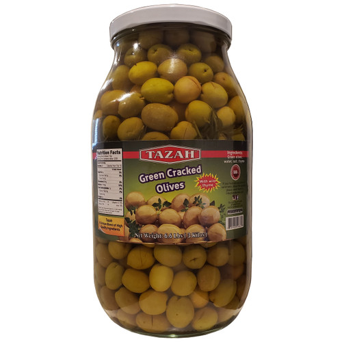 Tazah Cracked Green Olives With Wild Thyme 6.6 lbs