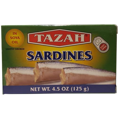 Tazah Sardines In Soya Oil, Lightly Smoked 4.5 oz ( 125g ) سردين في زيت الصويا مدخن قليلاً