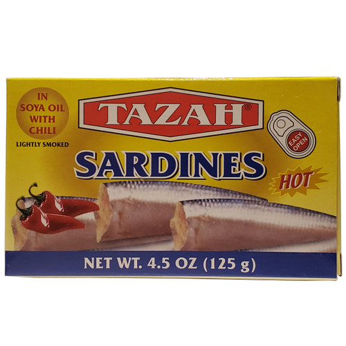 Tazah Sardines In Soya Oil With Chili, Lightly Smoked 4.5 oz ( 125g ) سردين بزيت الصويا مع الفلفل الحار ومدخن قليلاً