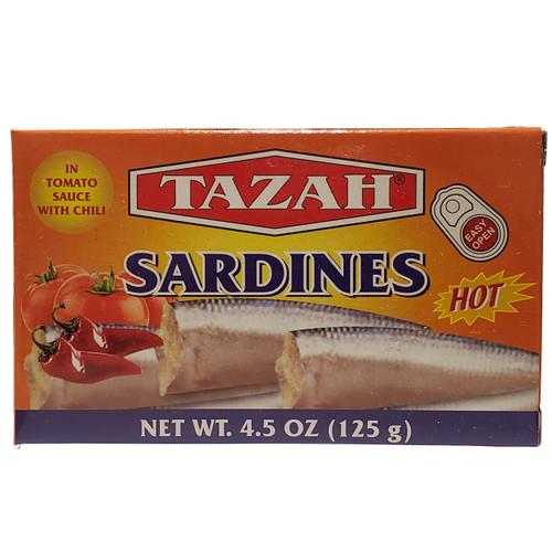 Tazah Sardine In Tomato Sauce With Chili 4.5oz ( 125g ) سردين بصلصة الطماطم مع الفلفل الحار