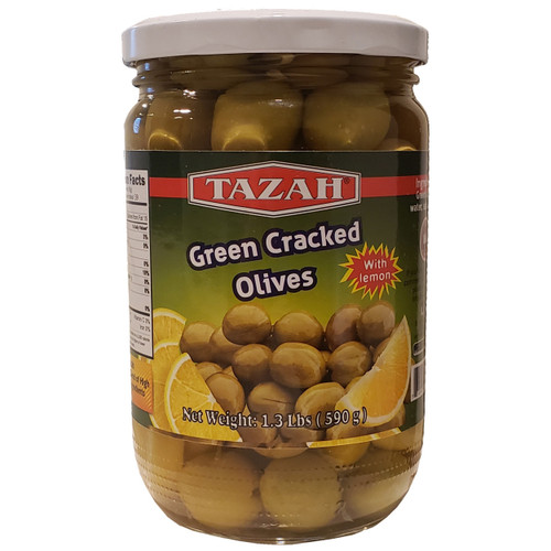 Tazah Green Cracked Olives With Lemon 1.3 lbs ( 590g )  زيتون أخضر مرصوص بالليمون