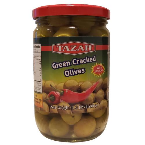 Tazah Green Cracked Olives With Pepper 1.3 lbs ( 590g ) زيتون أخضر مرصوص مع فلفل