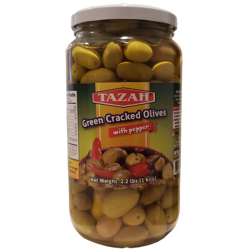 Tazah Green Cracked Olives With Pepper 2.2 lbs ( 1 Kilo ) زيتون أخضر مرصوص مع الفلفل