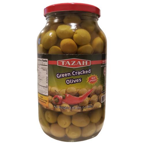 Tazah Green Cracked Olives With Pepper 2.85 lbs ( 1.3 Kilos ) زيتون أخضر مرصوص مع فلفل