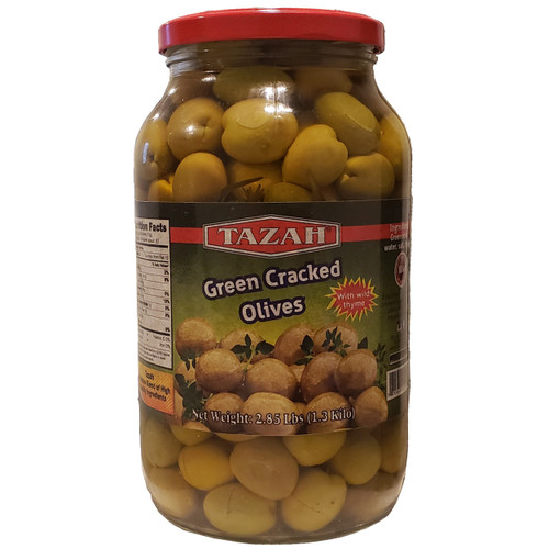 Tazah Green Cracked Olives With Wild Thyme 2.85 lbs ( 1.3 Kilos )  زيتون أخضر مرصوص مع زعتر بري