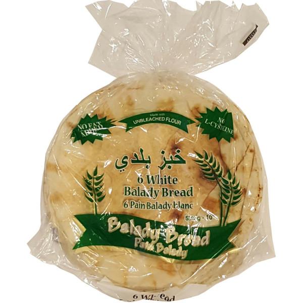 """Mediterranean Balady White Pita Bread 10"""" 525g, Bag of 6 Bread خبز أبيض كبير"""