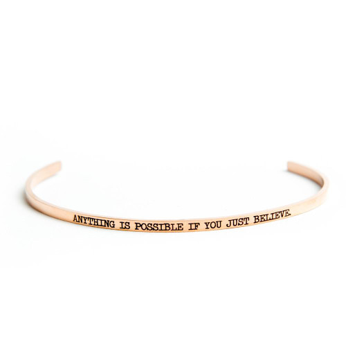 Anything is Possible if you just Believe- Bangle14K Rose Gold