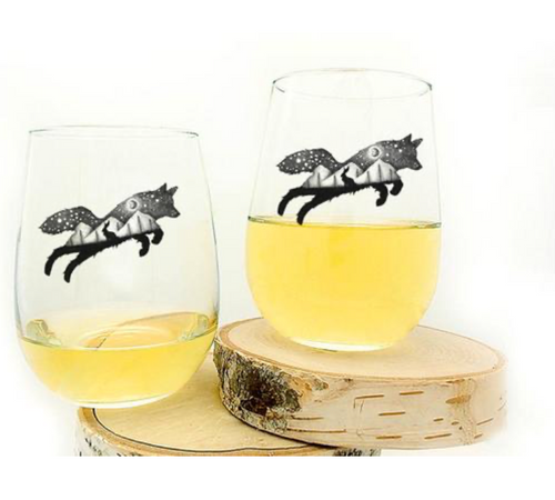 Fox and the Hare Wine Glass
