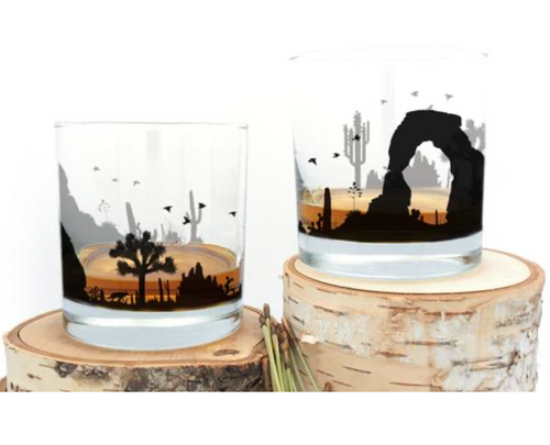Desert Landscape Whiskey Glass