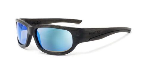 Sportsman Black/Blue Bamboo Sunglasses