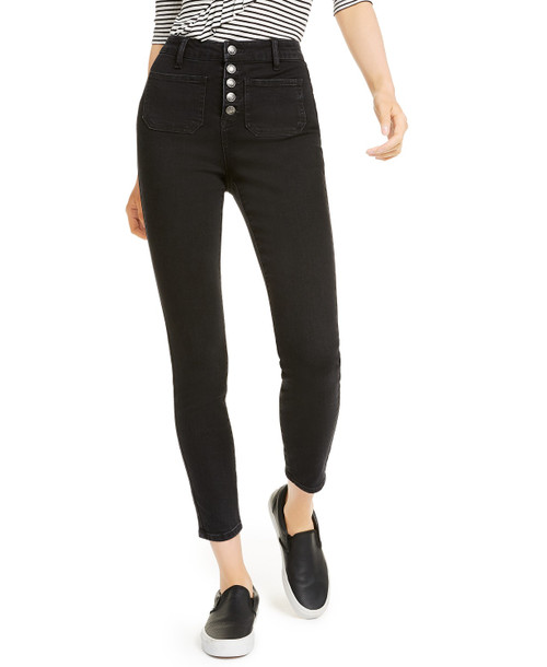 High Rise Button Front Jean - Black