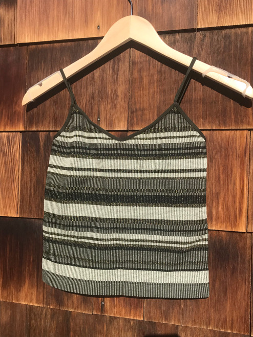 Gold and Black Striped Cami - Olive Green - O/S