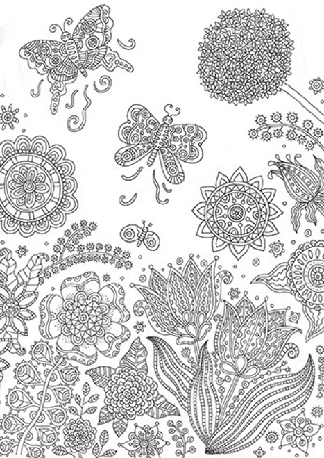 Flowers and Butterflies Coloring card