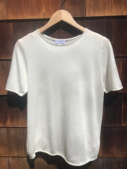 Short Sleeve Sweater Top - Cream