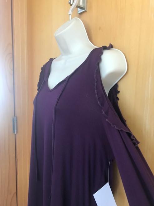 Cold Shoulder Ruffle top - Purple
