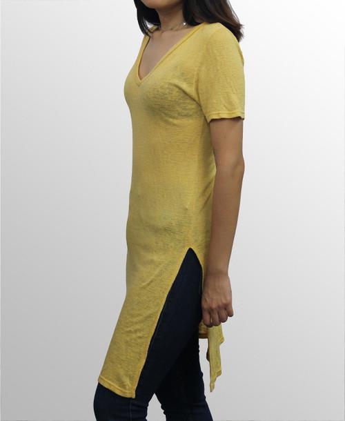 V- Neck Slit Tunic Tee - Mustard - Size Large only