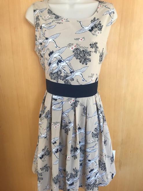 Crane Print Dress - Size L/XL