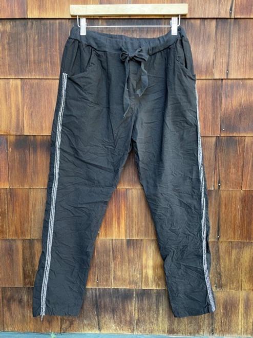 Crystal Striped Pants   S/M  Black