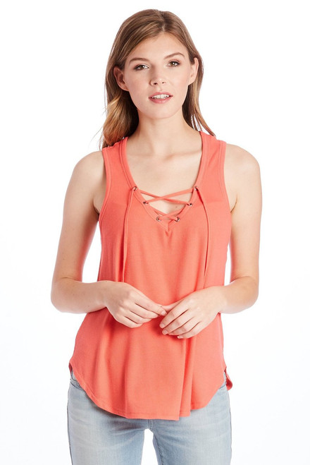 Mila Solid Lace Up Tank