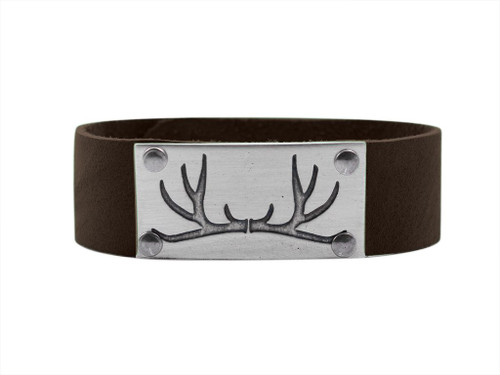 DL 8 Antler Leather Cuff -Men's Matte Silver