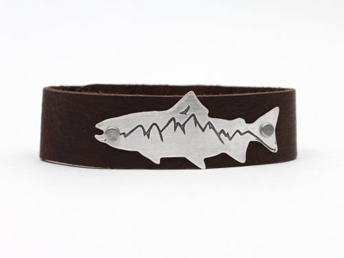 DL 5 Mountain Trout leather cuff - Men's -Matte Silver
