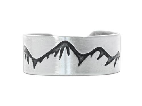 DL 14 Snowcaps adj Ring - Matte Silver