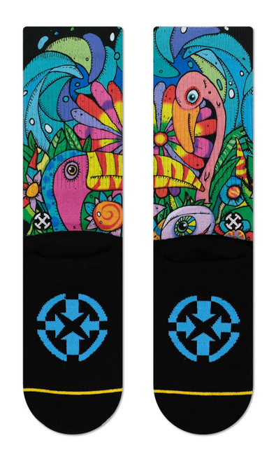 One can, two cans Red can, blue can If I can, you can You can, Toucan!  These psychedelic jungle socks are part of MERGE4's collab with the legendary Bad Otis Link! Sublimated graphics on high quality cotton blend crew socks.