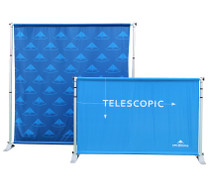 Telescopic backdrop banner wall