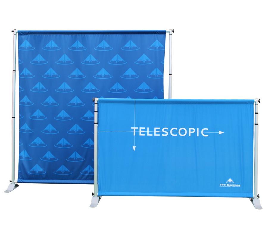 Telescopic backdrop banner wall