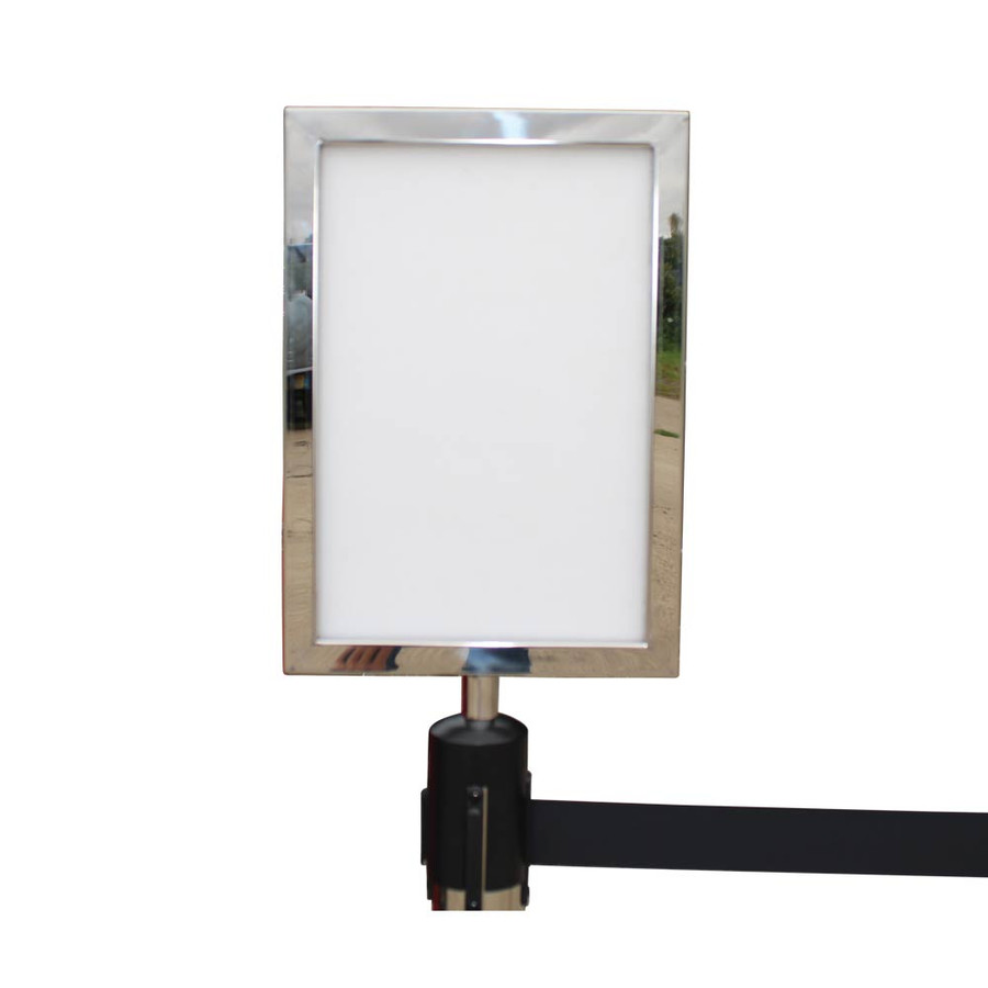 Retractable barrier A4 sign holder
