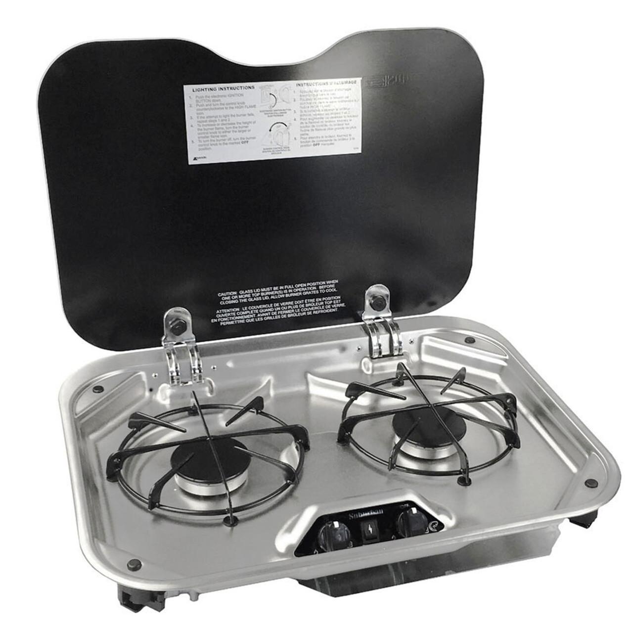 Rv Propane Stove >> Suburban 3031ast 2 Burner Rv Propane Cooktop W Glass Lid