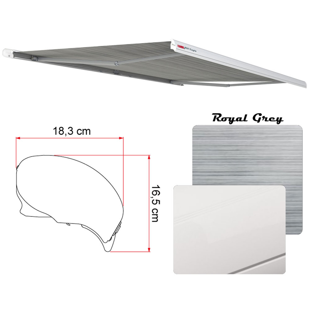 Fiamma 07755g01r Electric F65 Eagle Case Awning 369 13 2 White Case Royal Grey Fabric