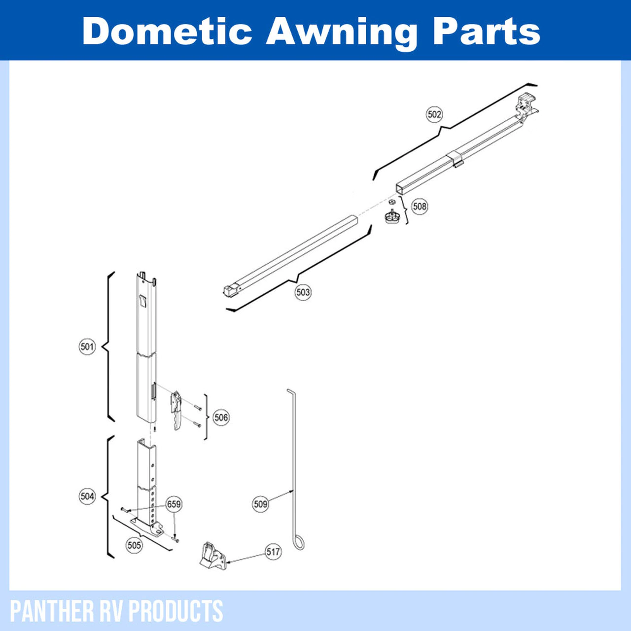 Dometic™ A&E 8273000.401 Tall Awning Arm Hardware Parts ...