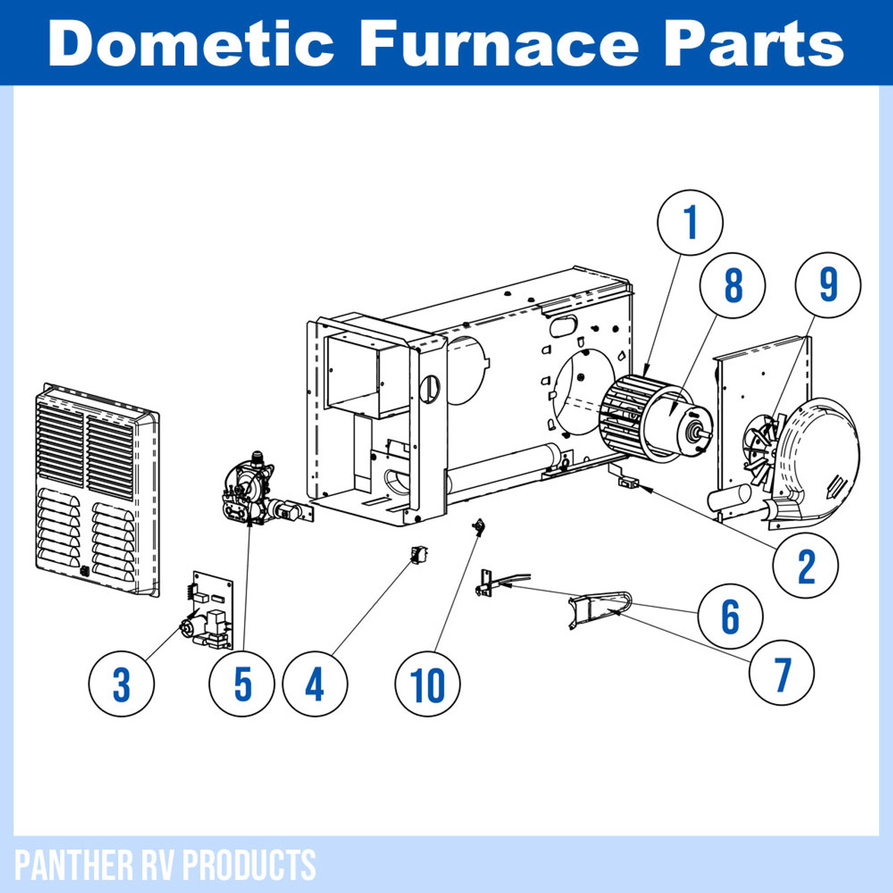 Dometic™ (Hydroflame) 8012-II RV Propane Heater / Furnace - 12K Parts  BreakdownPanther RV Products