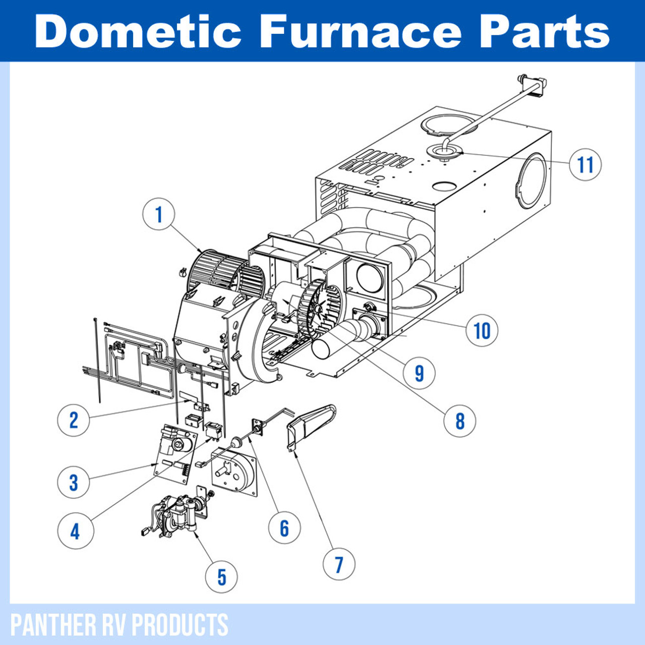 Dometic™ AFMD35 Atwood RV Propane Heater / Furnace - 35K Parts BreakdownPanther RV Products