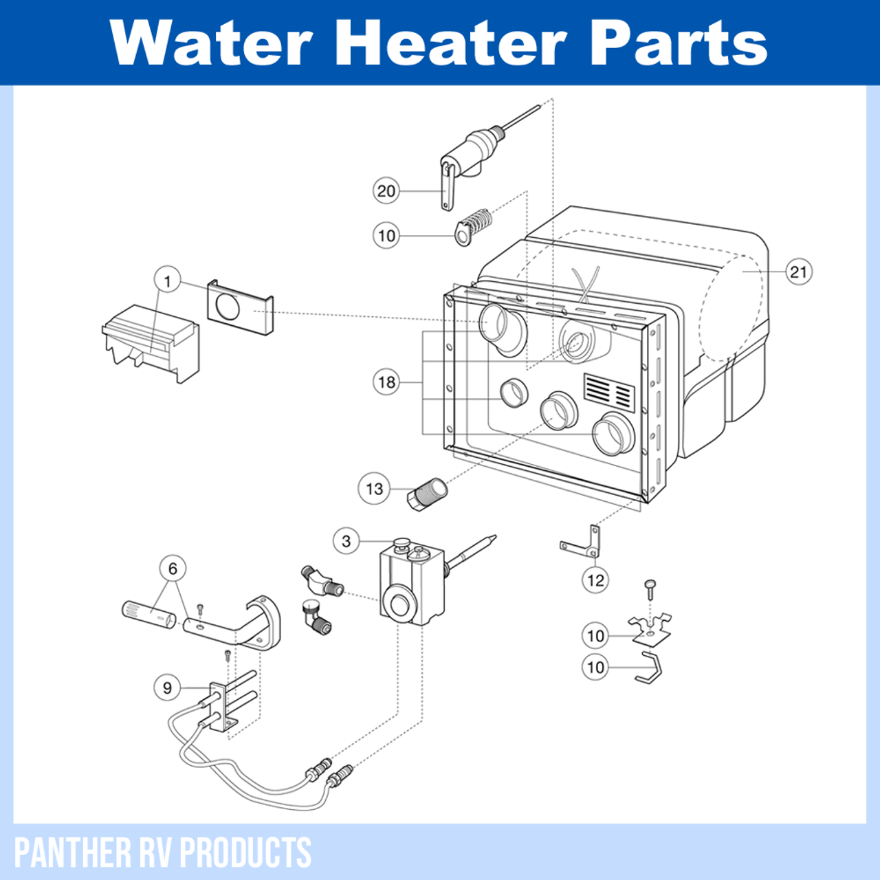 Dometic™ Atwood G6A-7 RV Water Heater Parts BreakdownPanther RV Products