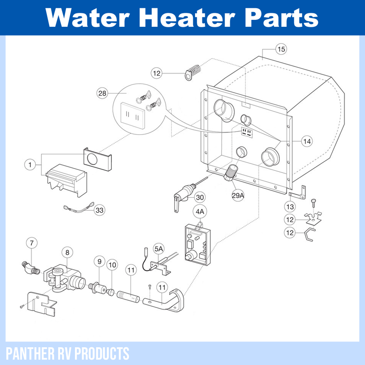 Dometic™ Atwood G6A-8E RV Water Heater Parts BreakdownPanther RV Products