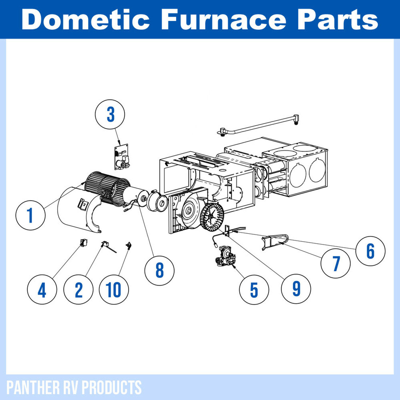 Dometic™ (Hydroflame) 8525-II RV Propane Heater / Furnace - 25K Parts  BreakdownPanther RV Products